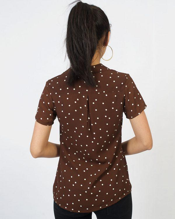 Chiffon Shirt - Chocolate Polkadot - Back