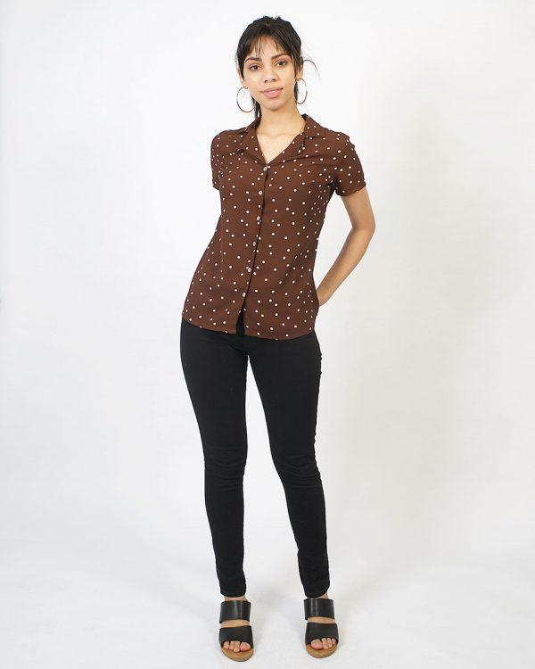 Chiffon Shirt - Chocolate Polkadot - Lifestyle shot