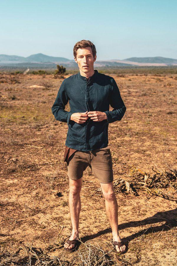 Male Linen Short - Taupe - Lifestyle shot 1