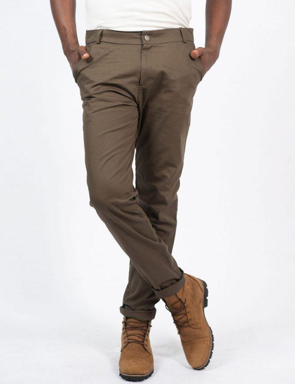 Male Cotton Skinny - Olive - Front 1