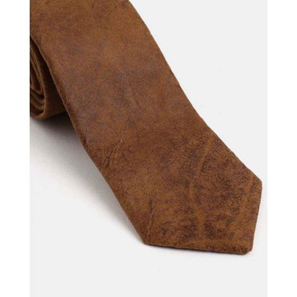 Male Tie - Suede Tan - Detail