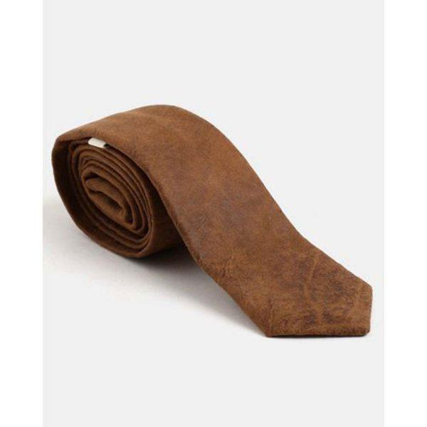 Male Tie - Suede Tan - Front