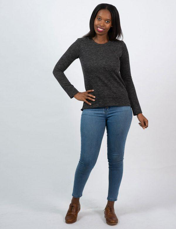 Slouchy Jersey - Charcoal Mohair - Lifestyle shot