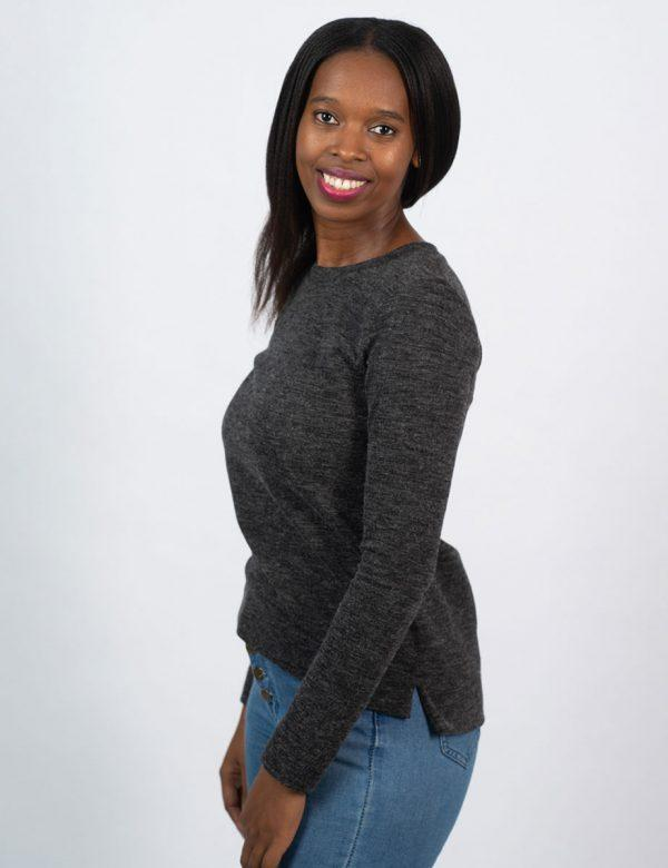Slouchy Jersey - Charcoal Mohair - Side front