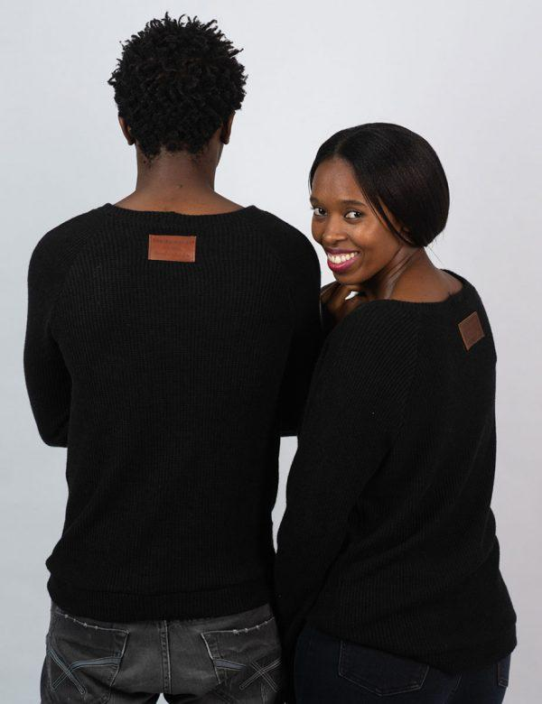 Unisex Jersey - Black Knit - Back