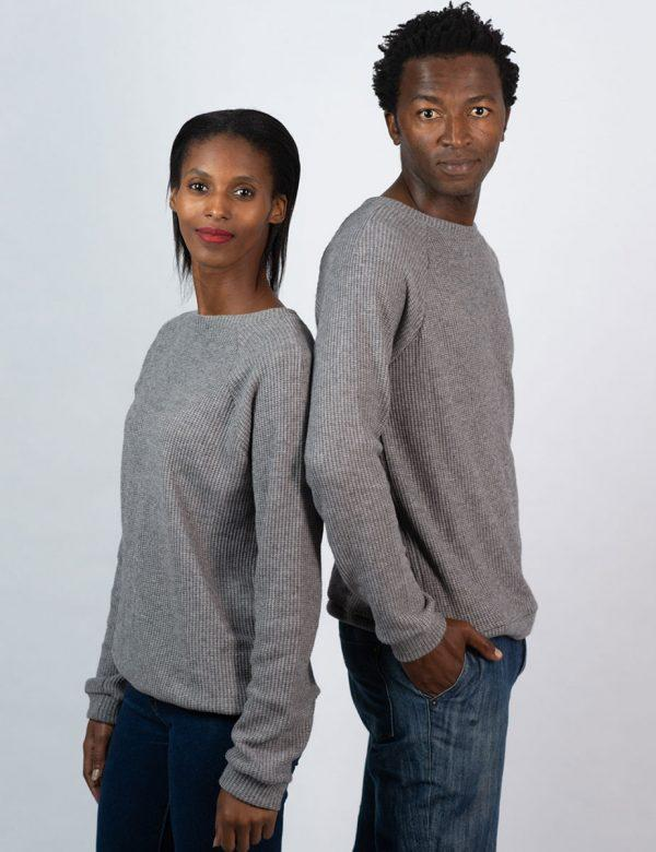 Unisex Jersey - Grey Melange Knit - Side
