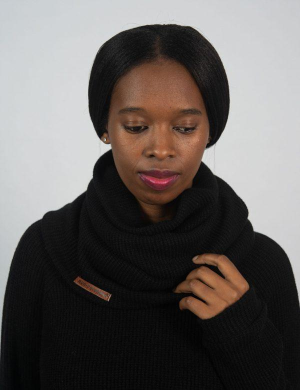 Funnel Scarf - Black Knit - Front