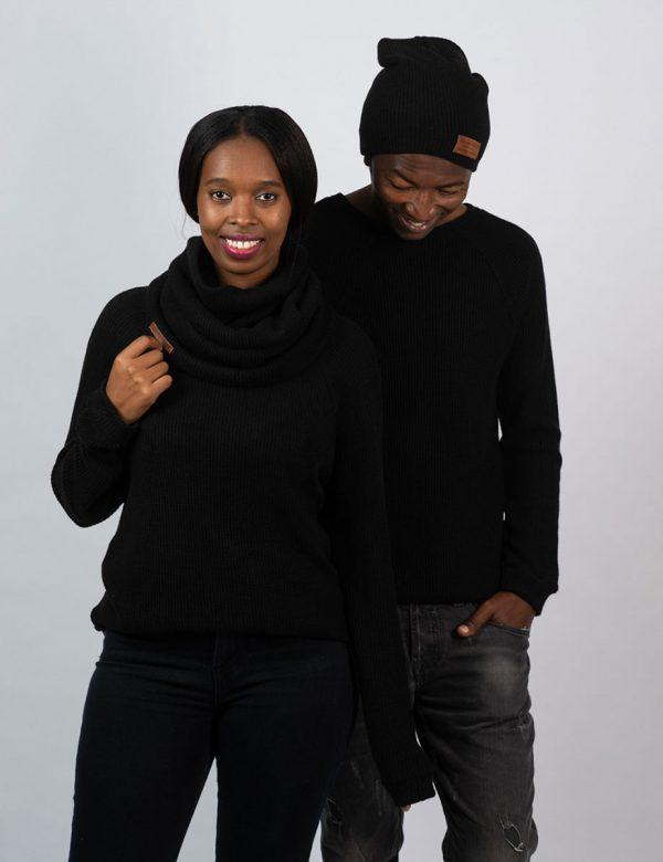 Funnel Scarf - Black Knit - Lifestyle shot