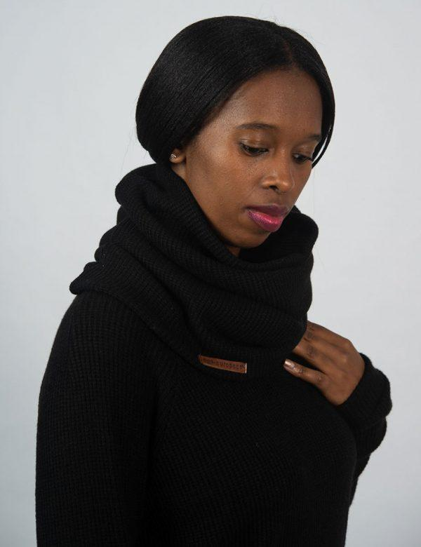 Funnel Scarf - Black Knit - Side