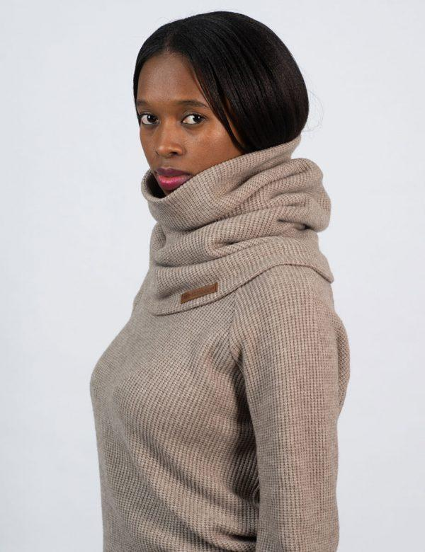 Funnel Scarf - Taupe Melange Knit - Side