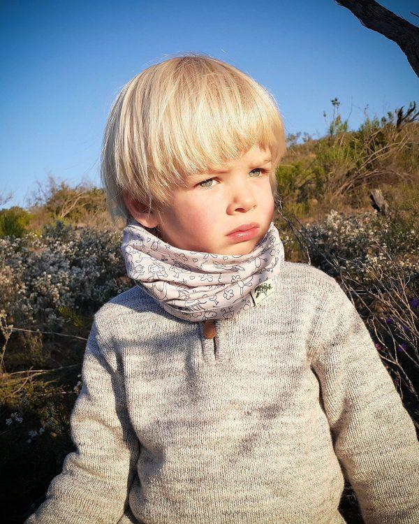 Baby Snood - Grey Doodle - Front
