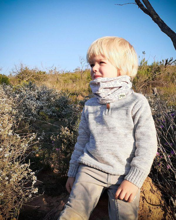 Baby Snood - Grey Doodle - Side front 1