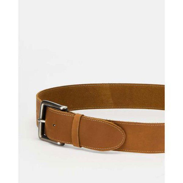 Chunky Leather Belt - Cuppuccino&Br Ant Nickel - Lifestyle shot