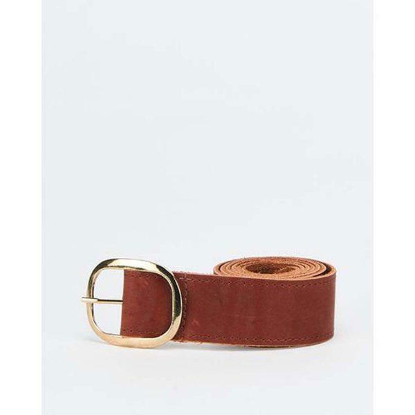 Unisex Oval Clasp Belt - Tan&Gold - Front