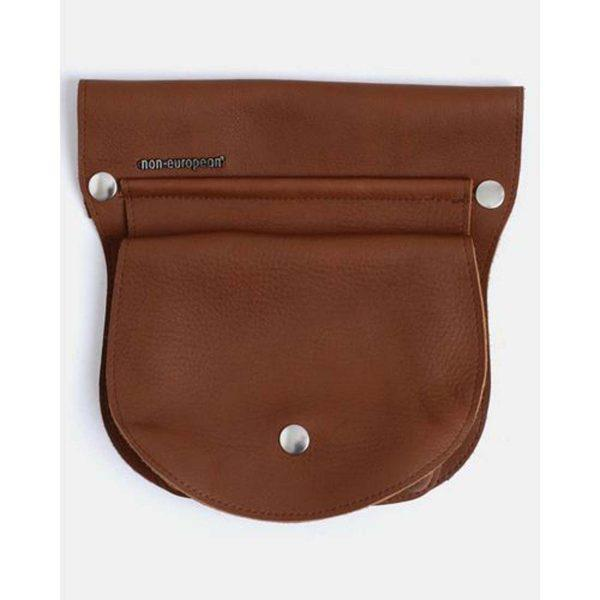 Clip On Pouch - Light Brown & Silver - Front