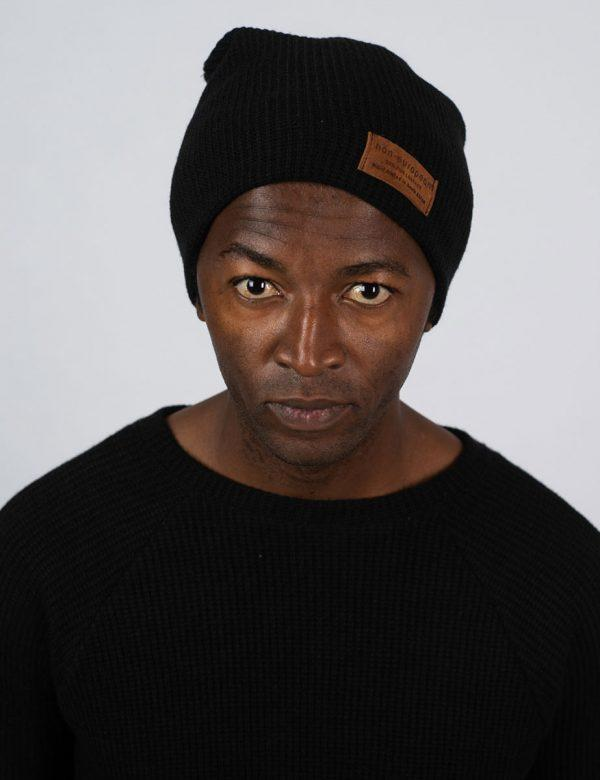 High Top Beanie - Black Knit - Front