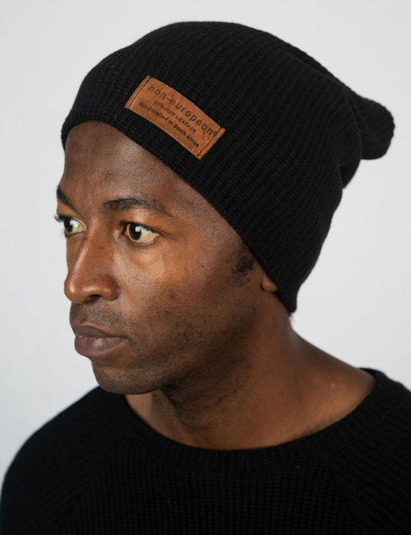 High Top Beanie - Black Knit - Side