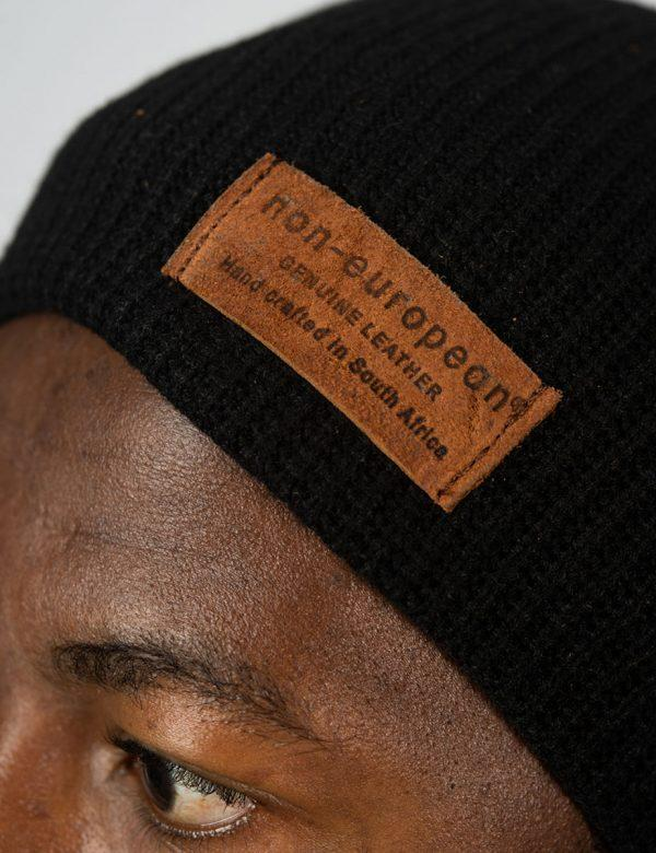 High Top Beanie - Black Knit - Side detail
