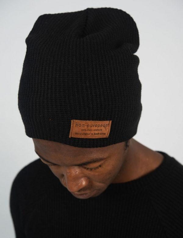 High Top Beanie - Black Knit - Side front