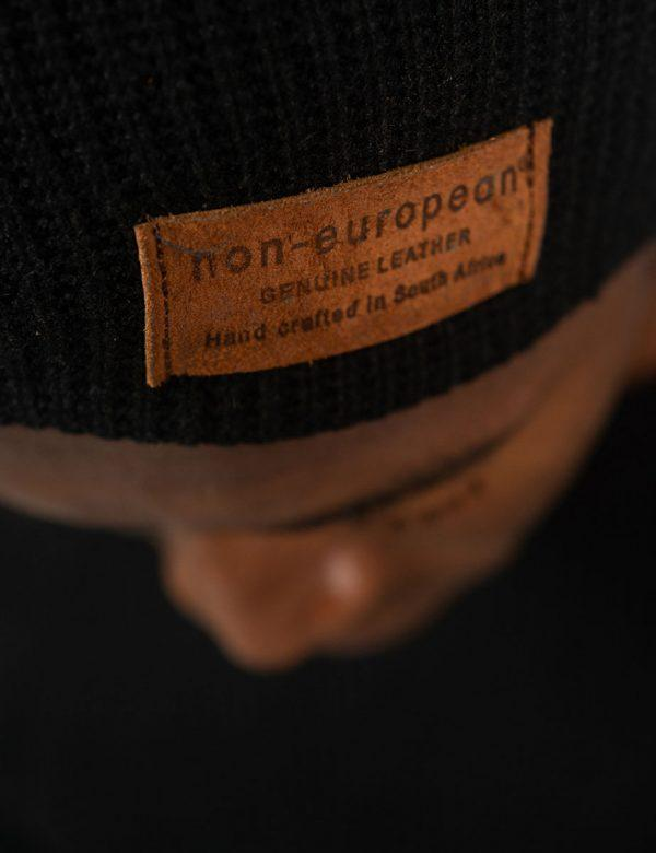 High Top Beanie - Black Knit - Side front detail