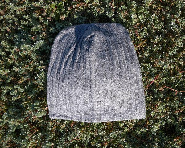 High Top Beanie - Grey Melange Cable Knit - Back