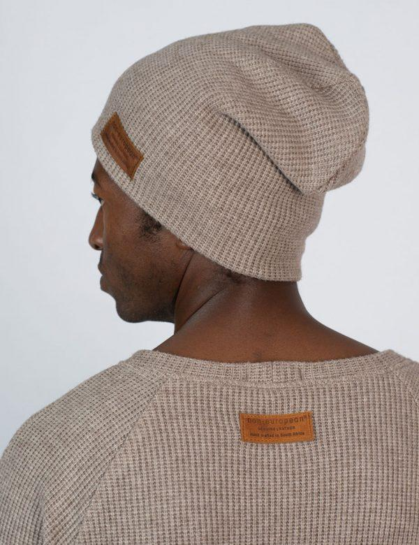High Top Beanie - Taupe Melange Knit - Side back