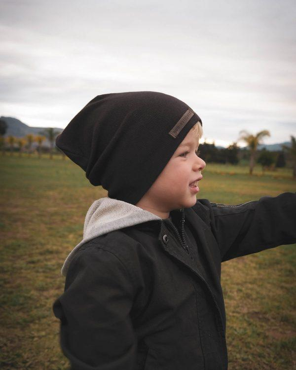 Kids Beanie - Dark Brown - Lifestyle shot