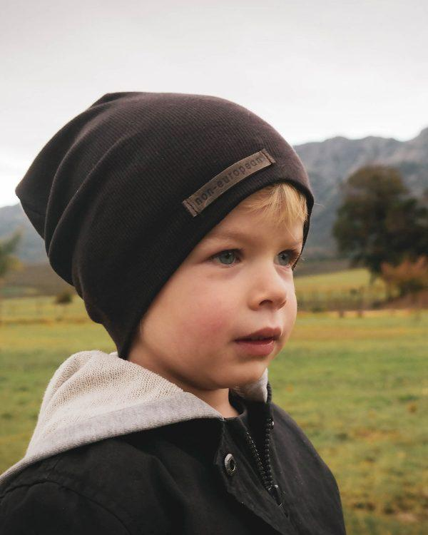 Kids Beanie - Dark Brown - Side