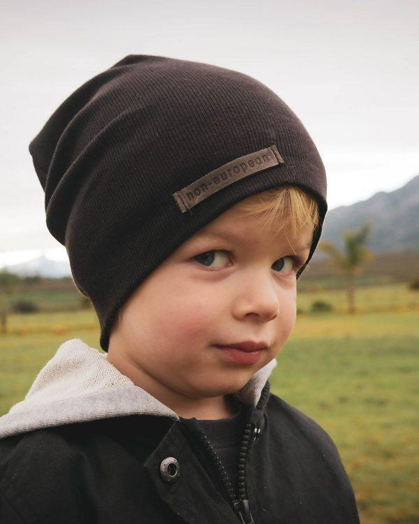 Kids Beanie - Dark Brown - Side front