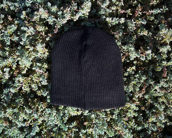 Kids Beanie - Black Knit - Back