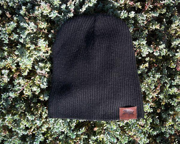Kids Beanie - Black Knit - Front