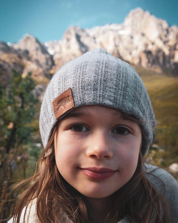 Kids Beanie - Grey Melange Cable Knit - Front 2