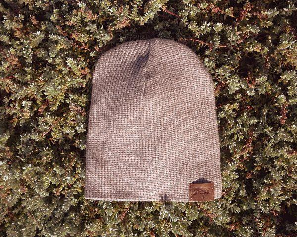 Kids Beanie - Taupe Melange Knit - Front