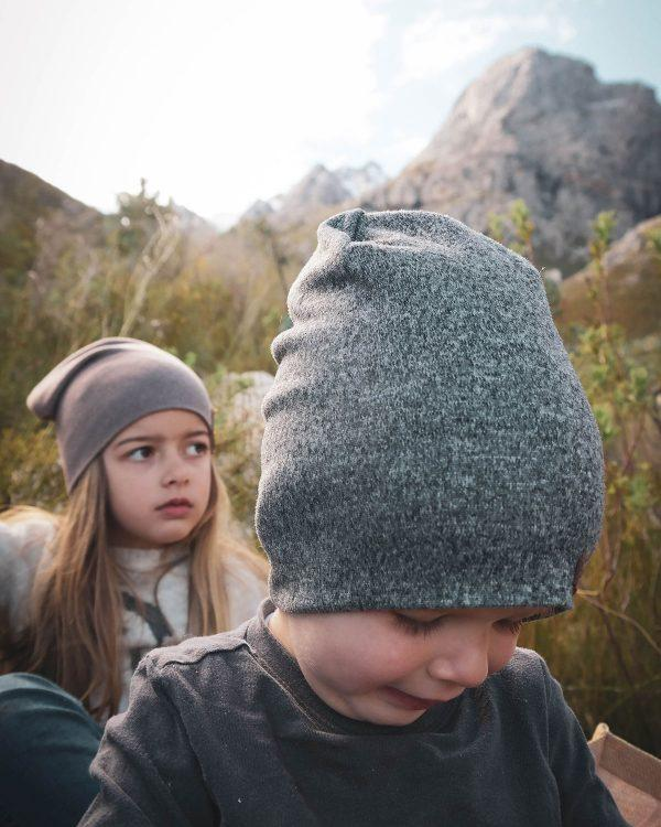 Kids Beanie - Grey Melange - Side