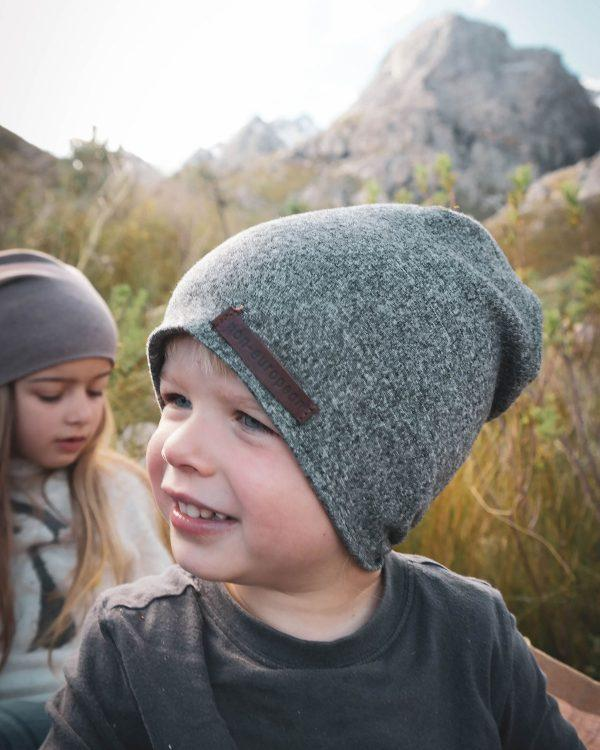 Kids Beanie - Grey Melange - Side front
