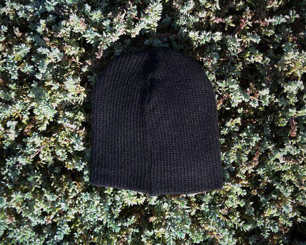 Baby Beanie - Black Knit - Back