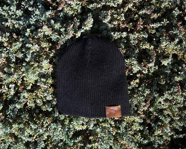 Baby Beanie - Black Knit - Front