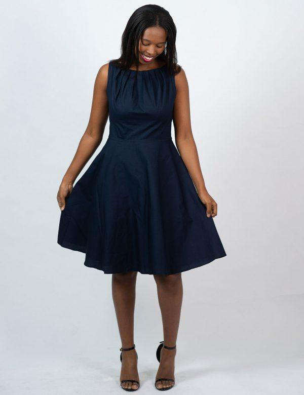 Twist Dress - New Navy - Lifestyle shot