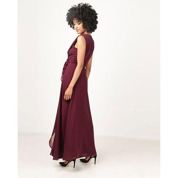 Bridesmaid Gown - Burgandy - Side back
