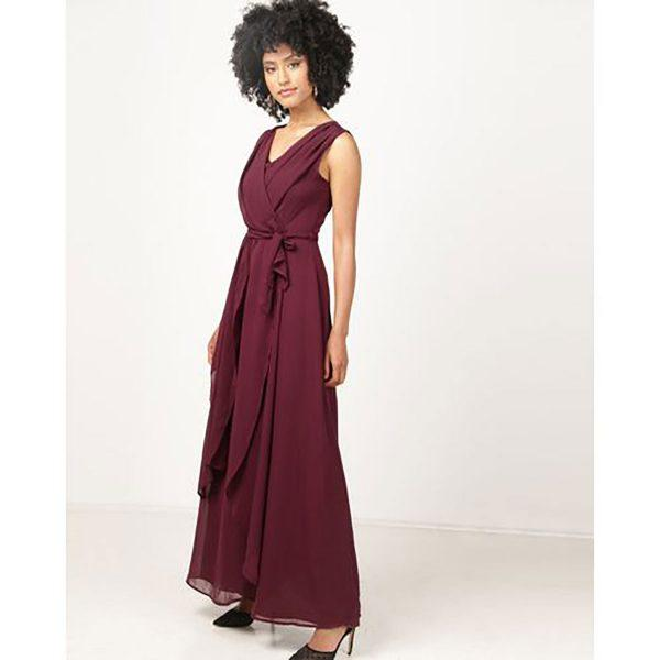 Bridesmaid Gown - Burgandy - Side front