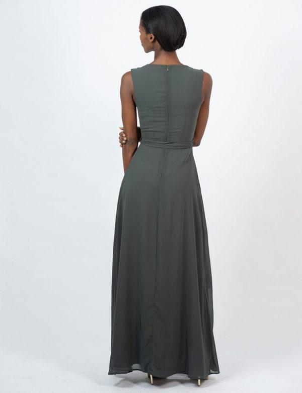 Bridesmaid Gown - Dark Olive - Back