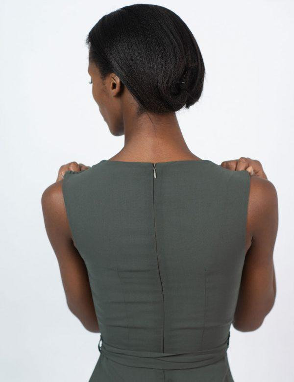 Bridesmaid Gown - Dark Olive - Back detail