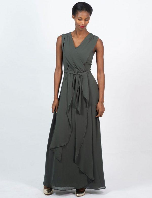 Bridesmaid Gown - Dark Olive -Front