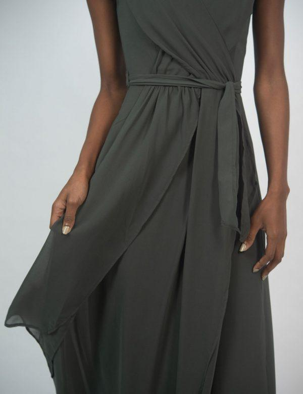 Bridesmaid Gown - Dark Olive - Front detail