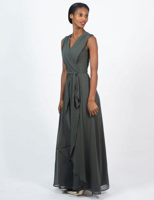 Bridesmaid Gown - Dark Olive - Lifestyle shot