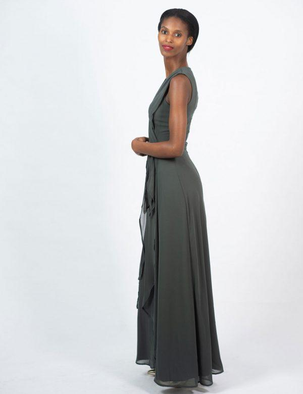 Bridesmaid Gown - Dark Olive - Side