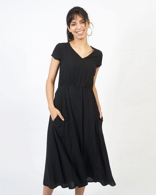 Casual Dress - Black - Front