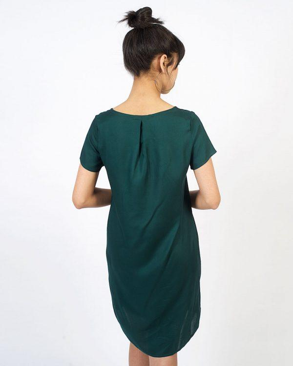 Trendy Tee Dress - Bottle Green - Back