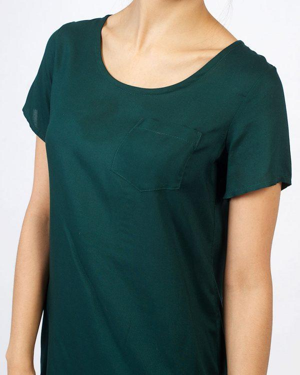 Trendy Tee Dress - Bottle Green - Detail