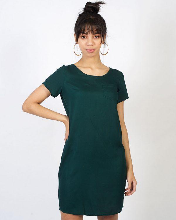 Trendy Tee Dress - Bottle Green - Front 1